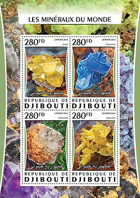 Djibouti 2016 MNH Minerals of the World Colemanite Chalcanthite 4v M/S Stamps