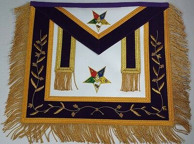 Masonic Regalia Hand Embroidered Bullion Made OES Apron Purple with Gold Fringe
