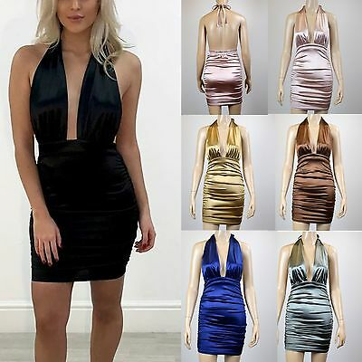 Womens Ladies Satin Ruched Halter Neck Tie Back Short Mini Bodycon Party Dress