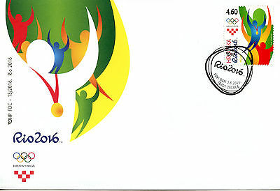 Croatia 2016 FDC Olympic Summer Games Rio 2016 1v Cover Olympics Sports Stamps