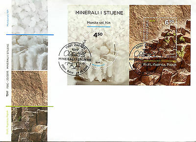Croatia 2016 FDC Minerals & Rocks 2v M/S Cover Sea Salt Rhyolite Stamps