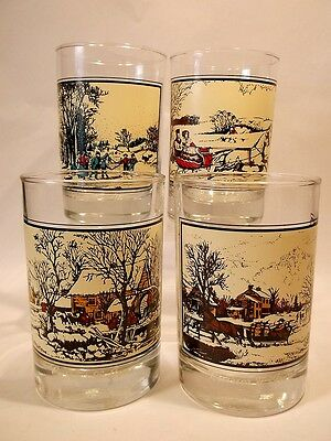 1981 Complete Set of 4 Arby's Collector's Series Currier n Ives Barware Glasses
