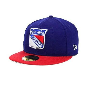 New York Rangers Team Basic New Era 59FIFTY Fitted Baseball Cap Size 7 3/8