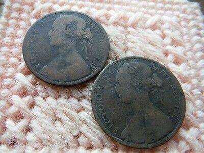 UK Great Britain 1861, 1866 Penny Victoria Lot of 2