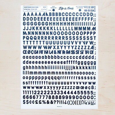 1 Sheet AVANTEGARDE Bold Cond 36pt Letraset L166 Rub on Letters Dry Transfers