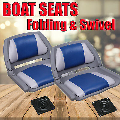 New 2017 Boat Seats Premium Boat Folding  w/ Swivels All Weather Grey Blue