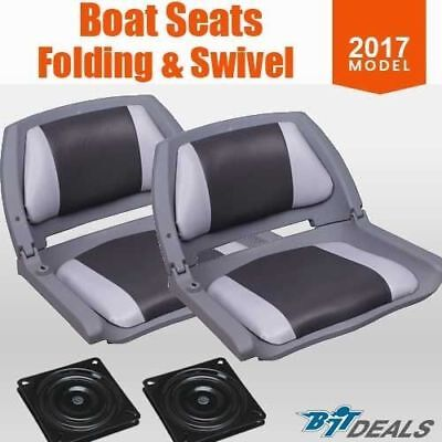New 2017 Boat Seats Premium Boat Folding  w/ Swivels All Weather Grey Charcoal
