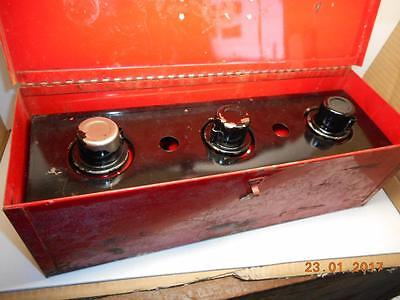 3 X Vintage Red Kerosene Railroad Truck Road Flare Smudge Pot With Metal Case.