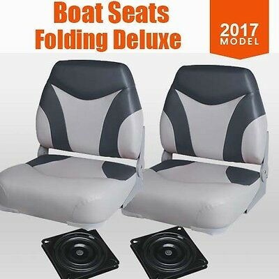 New 2017 Boat Seats Folding  w/ Extra Support  Swivels All Weather Grey Charcoal