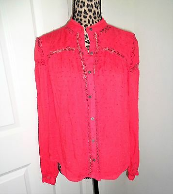 ccc060de83f0d Free People Strawberry Crochet Button Down Rayon Shirt Top Size S/P NWT