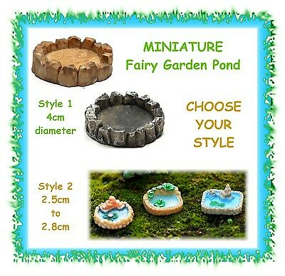 1 x MINIATURE fairy garden pond - CHOOSE YOUR STYLE - terrarium lake water
