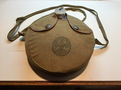 Vintage Boy Scouts Of America Canteen W/ Canvas Sleeve Regal Manufacturing