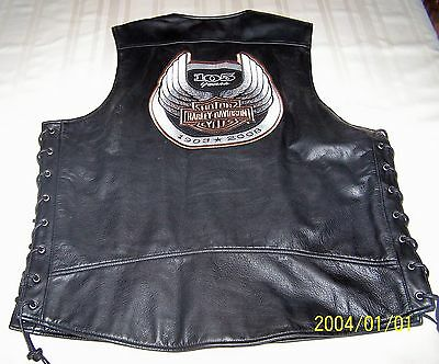 Men's Harley Davidson Leather Vest Size Large 105Th Anniversary Very Nice