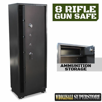 8 Gun Safe EXTRA LARGE 150Kg - 1700mm Firearm Rifle Storage Steel Cabinet NEW