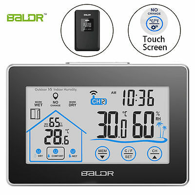 Touch Screen Weather Station Indoor Outdoor Temperature Humidity Gauge Meter Set