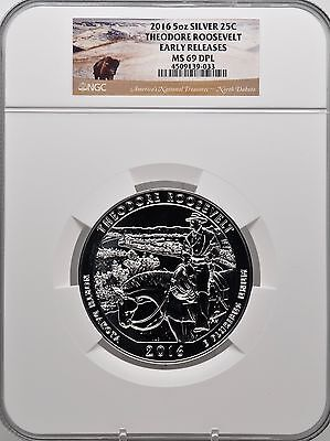 2016 5oz SILVER 25C Theodore Roosevelt  NGC MS 69DPL Early Releases must see!