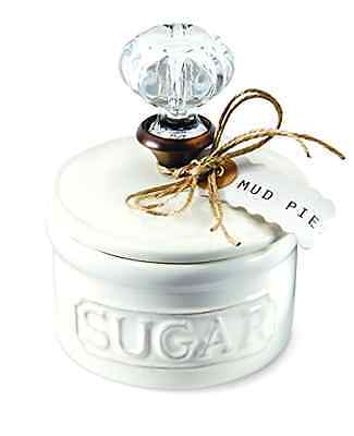 Sugar Bowl Mud Pie Door Knob Handle Design Ceramic and White With Removable Lid