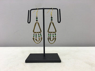 Masai African Brass Triangle Hoop Green Black Glass Beaded Earrings E96