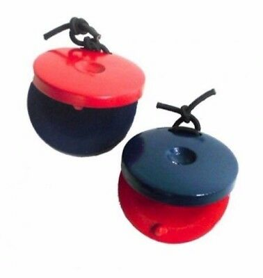 20 X CPK PERCUSSION - Red & Blue Wooden Castanets Educational, Pair, Fun, Kids