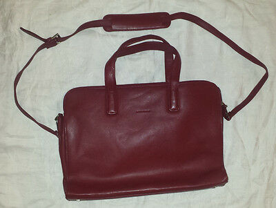 Levenger 3 Compartment Laptop Bag Briefcase Messenger Red Leather w/ Pouch