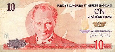 Turkey 10  New Lira  2005  P 218  Series H03 circulated Banknote , E1
