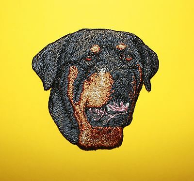 "Rottweiler Dog Head Embroidered Patch Approx Size 3""x3"""
