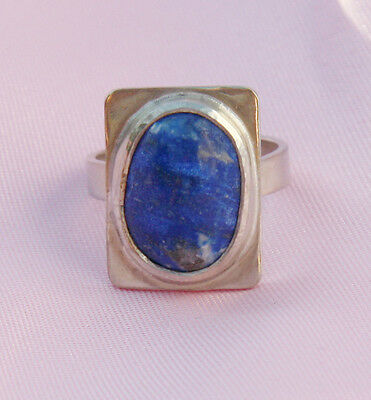 Natural Blue Lapis Lazuli Bezel Set Ring in Solid Sterling Silver Canada Made