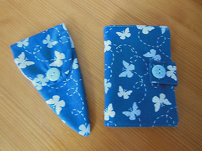 Sewing Needle Case 6 Felt Pages & Matching Scissor Case Blue Hand Made