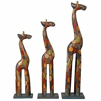 Bali Handcrafted Wooden Spotty Family Set of 3 Giraffes Figurine Ornaments