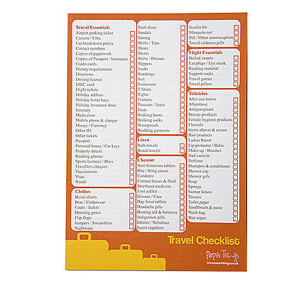 A5 Travel / Holiday / Checklist & Planner - 50 Sheets Per Pad - Double Sided