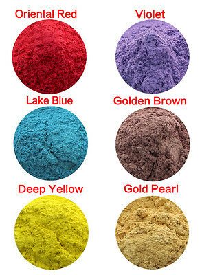 10g Natural Mica Powder Soap Candle Colorant Dye Oriental Red Violet Lake Blue
