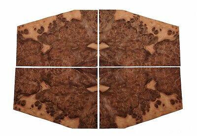 "Walnut burr veneer. 4 matching sheets: 12"" x 9"" ( 30 cm x 23 cm )"