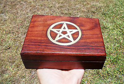 Wooden Trinket Box with Gold Pentagram Symbol 18cm (New Age)(Brand New)