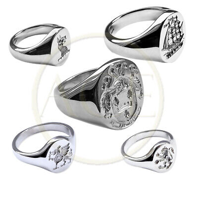 NEW Family Crest Rings 925 Solid Sterling Silver Oval Signet Rings UK Hallmarked