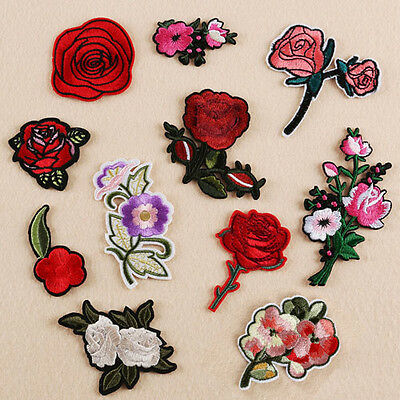 11 Embroidery Rose Flower Sew Iron On Patch Badge Bag Hat Jeans Applique DIY