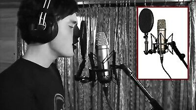 Vocal Condenser Microphone Voice Recorder Music Recording Studio Mic With Filter