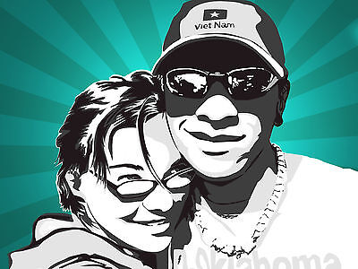 Couple Pop Art Caricature Personalized Portrait Custom Made From Your Photos