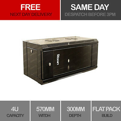 """4U 19"""" Network Cabinet Rack Wall Mounted 570*300mm Black Data Comms Patch Panel"""