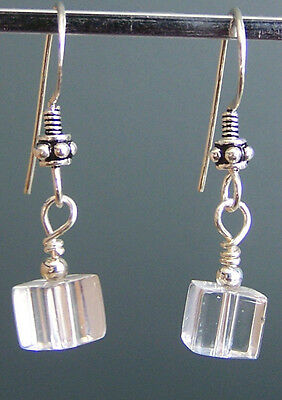 Sterling Silver Dangle Earrings with QUARTZ Cubes (#15.11)