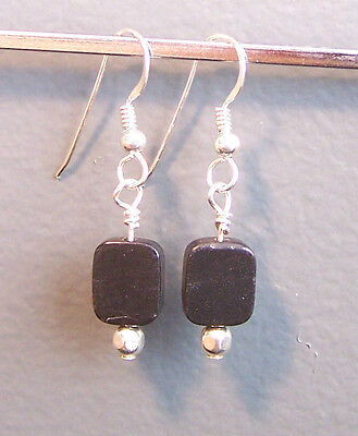 Sterling Silver Earrings Black ONYX & silver accents (#14.01)