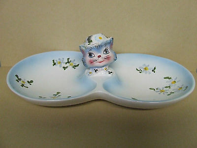 VHTF/RARE Vintage Lefton Miss Priss (Kitty Cat) Double Candy Dish (#MR8177)