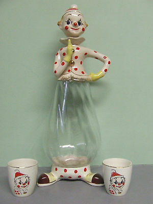 Rare/HTF Vintage Napco Santa Clown Decanter w/2 Shot Glasses (Japan, #2P2985 CL)