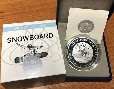 France 2013 SNOWBOARD 10 euro Silver Proof Francia € silber argent winter games