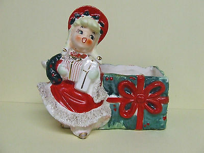 Vintage Lefton Christmas Holiday Shopper Wall Pocket/Planter (ESD/#024)
