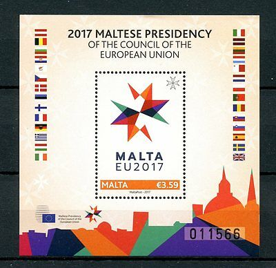 Malta 2017 MNH Presidency of European Union EU Council 1v M/S Flags Stamps