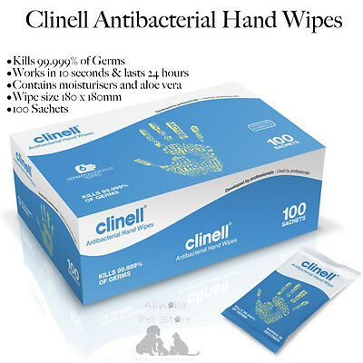 Clinell Antibacterial Hand Wipes 180 x 180mm pack of 100 Puppy & Kitten Whelping