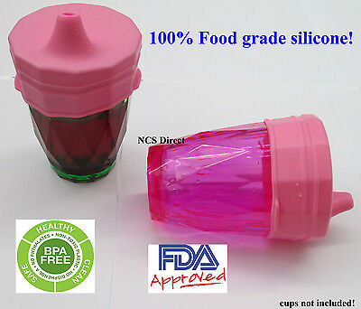 2 Pink Silicone Sippy Cup Lids - Spill Proof Trainer Bottle Glass Sip Toddler