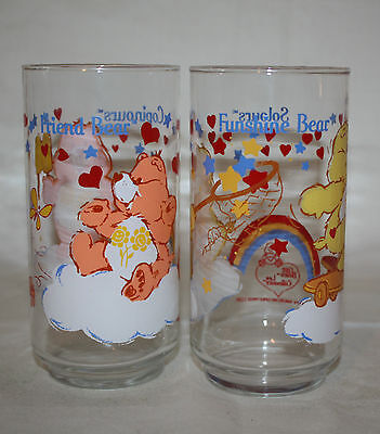Vtg 1984 Care Bears Pizza Hut Glasses Tumblers Set of 6 Different Bear Collector