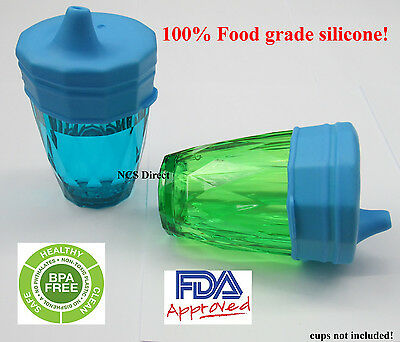 2 Blue Silicone Sippy Cup Lids - Spill Proof Trainer Bottle Glass Sip Toddler