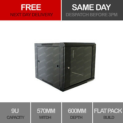 "9U 19"" Network Cabinet Rack Wall Mounted 570*600mm Black Data Comms Patch Panel"